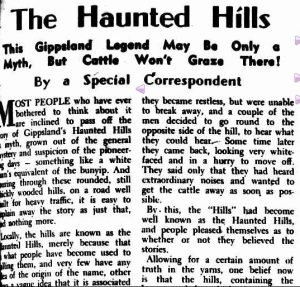 Haunted Hills, Yallourn, Herne's Oak, Gippsland legend, cattle