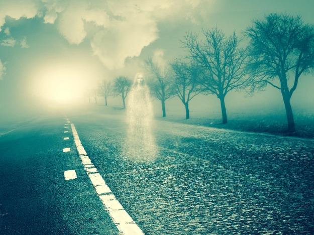 spirit, walking on the street, leaveless trees, misty, light, clouds