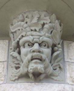Green man, sculpted,