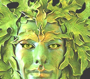"""Greenman mask with eyes"" by Lauren raine - Own work. Licensed under CC BY-SA 3.0 via Wikimedia Commons - http://commons.wikimedia.org/wiki/File:Greenman_mask_with_eyes.jpg#/media/File:Greenman_mask_with_eyes.jpg"