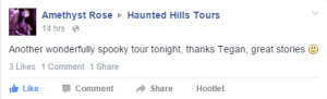feedback from Amethyst Rose about the first Traralgon Ghost Tour