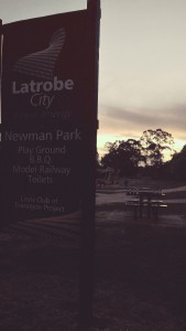 Beautiful Newman Park at Sunset the best meeting spot for the Traralgon Ghost Tour.